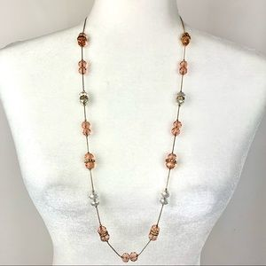 Pink and Clear Faceted Crystal Gold Chain Necklace